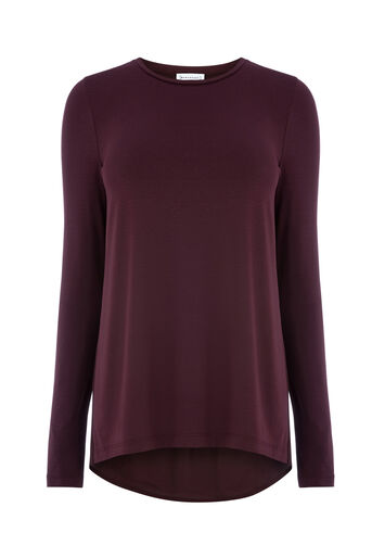 Warehouse, PLEAT BACK WOVEN MIX TOP Berry 0