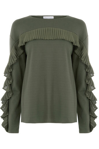 Warehouse, FRILL SWEAT Khaki 0