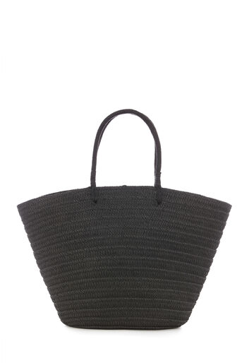 Warehouse, STRAW BASKET TOTE BAG Black 0