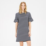 Warehouse, STRIPE FLUTE SLEEVE DRESS Blue Stripe 1