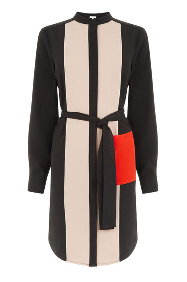 Warehouse, COLOURBLOCK SHIRT DRESS Black 0
