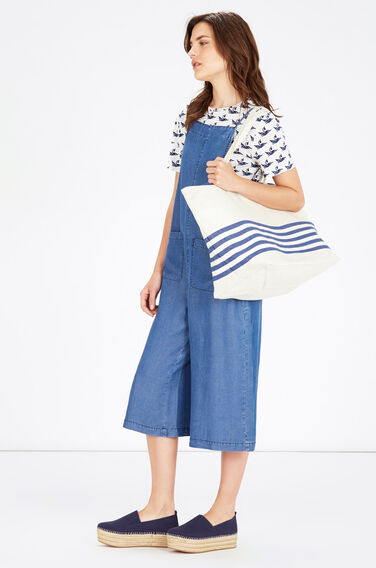 Warehouse, Stripe Canvas Shopper Bag Navy 0