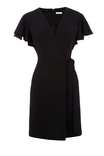 Warehouse, FRILL SLEEVE DRESS Black 0