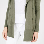 Warehouse, ASYMMETRIC POPPER CARDI Dark Green 4