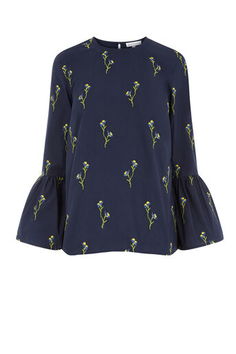 Warehouse, IRIS EMBROIDERED TOP Navy 0