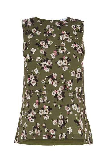 Warehouse, MAE FLORAL WOVEN FRONT TOP Green Print 0