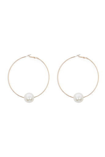 Warehouse, LARGE HOOP WITH PEARL EARRING Gold Colour 0