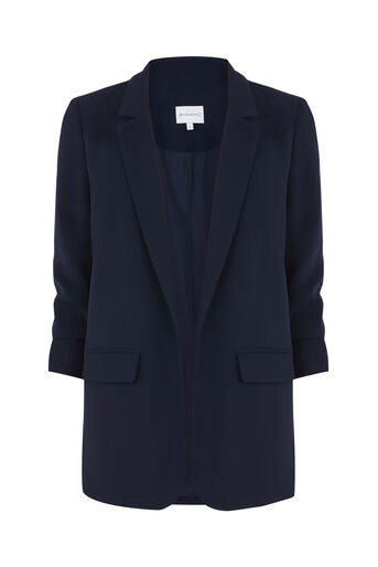 Warehouse, ROUCHED SLEEVE JACKET Navy 0