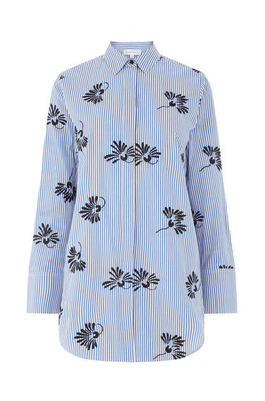 Warehouse, EMBROIDERED STRIPE SHIRT Blue Stripe 0