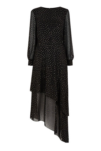 Warehouse, GOLD GLITTER MIDI DRESS Black Pattern 0