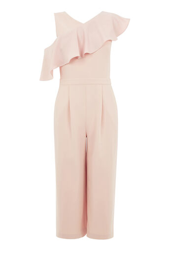 Warehouse, ASYMMETRIC RUFFLE JUMPSUIT Light Pink 0