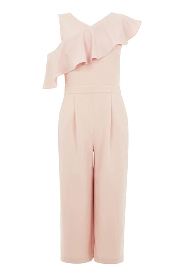 Warehouse, ASYMMETRIC RUFFLE JUMPSUIT Light Pink 0