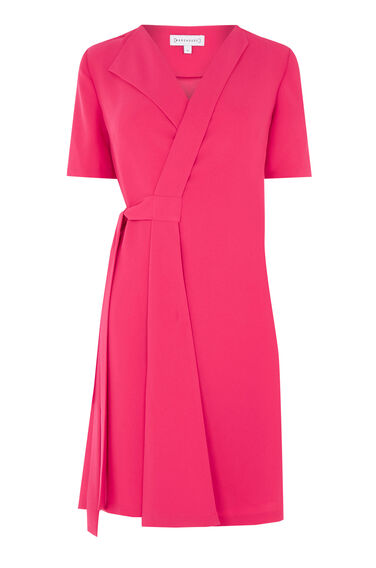 Warehouse, WRAP DRESS Bright Pink 0
