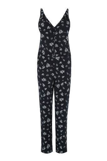 Warehouse, Leaf Print Jumpsuit Blue Pattern 0