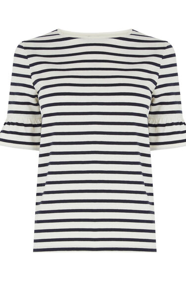 Warehouse, STRIPE FLUTE SLEEVE TEE Blue Stripe 0