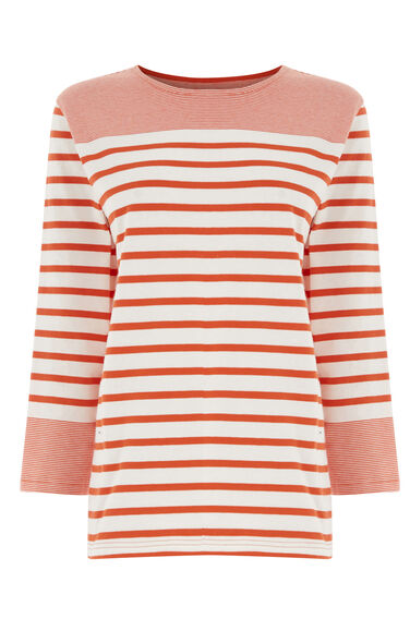Warehouse, ENGINEERED STRIPE TOP Red Stripe 0