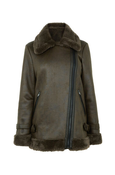 Warehouse, Oversized Faux Fur BikerJacket Khaki 0