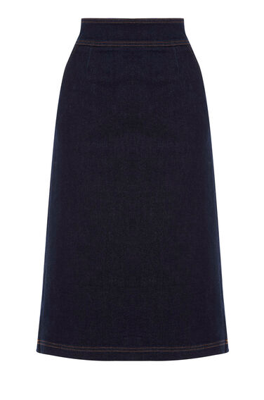 Warehouse, A Line Midi Skirt Dark Wash Denim 0