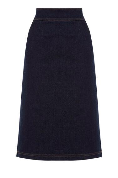 Warehouse, A Line Midi Skirt Dark Wash Denim 0