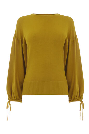 Warehouse, BLOUSON TIE SLEEVE JUMPER Mustard 0