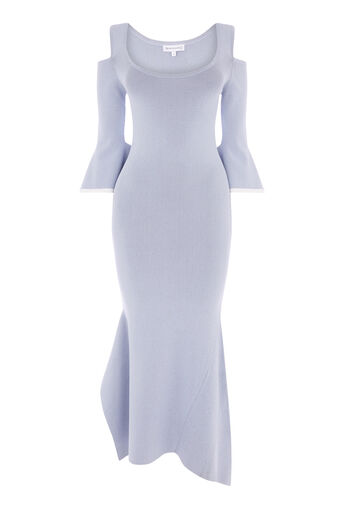 Warehouse, SQUARE CUFF KNIT MAXI DRESS Light Blue 0