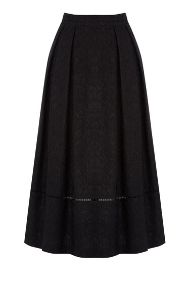 Warehouse, LACE MIDI SKIRT Black 0