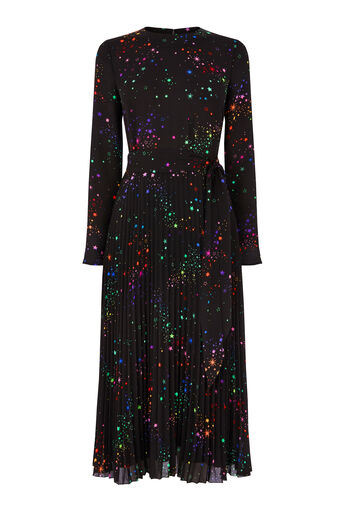 Warehouse, RAINBOW PLEATED MIDI DRESS Black Pattern 0
