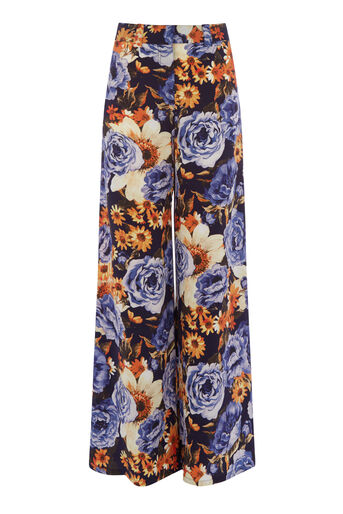 Warehouse, PEONY FLORAL SILK TROUSERS Navy 0