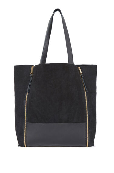 Warehouse, Leather Zip Detail Shopper Bag Black 0