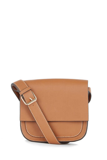 Warehouse, Stitch Detail Saddle Bag Tan 0