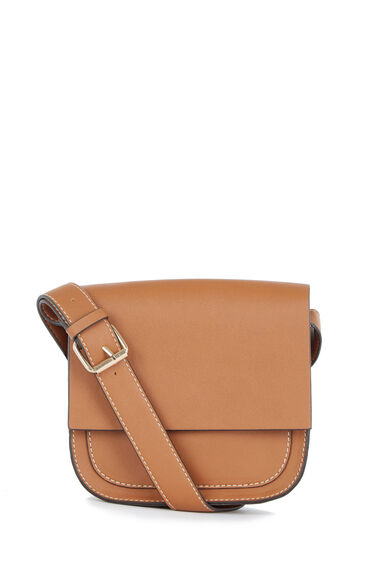 Warehouse, Small Saddle Cross Body Bag Tan 0