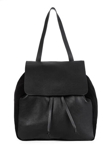Warehouse, Leather Suede Rucksack Black 1