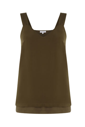 Warehouse, SATIN FRONT TIE CAMI Khaki 0