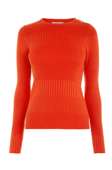 Warehouse, BUTTON SHOULDER RIB JUMPER Bright Red 0