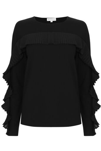 Warehouse, FRILL SWEAT Black 0