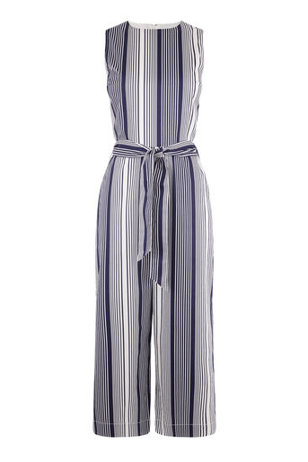 Warehouse, STRIPE JUMPSUIT Blue Stripe 0