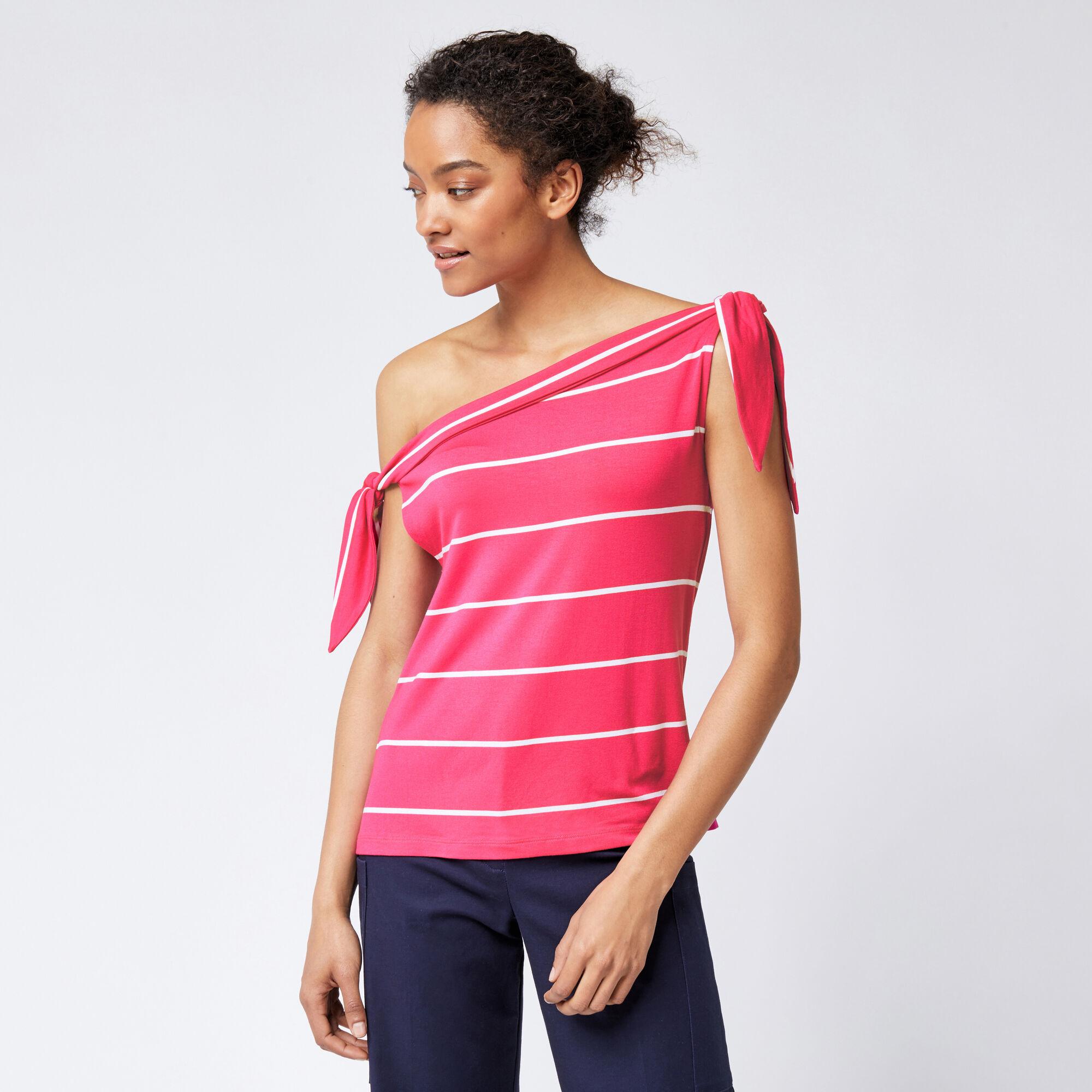 Warehouse, STRIPE TIE SHOULDER TOP Pink Stripe 1