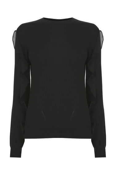 Warehouse, FRILL SLEEVE CREW JUMPER Black 0