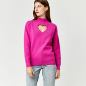 Warehouse, HEART CUT OUT JUMPER Bright Pink 4
