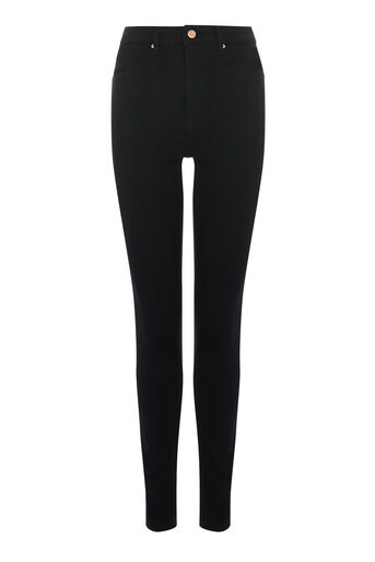 Warehouse, HIGH RISE SKINNY CUT Black 0