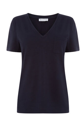 Warehouse, SLUB V NECK TEE Navy 0