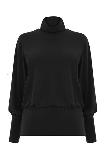 Warehouse, SLINKY RUCHED POLO TOP Black 0