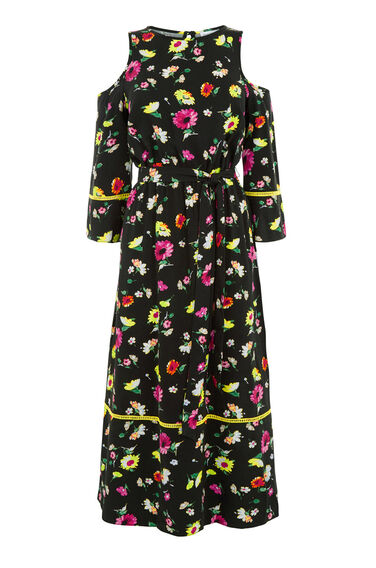 Warehouse, WOODSTOCK FLORAL MIDI DRESS Black Pattern 0