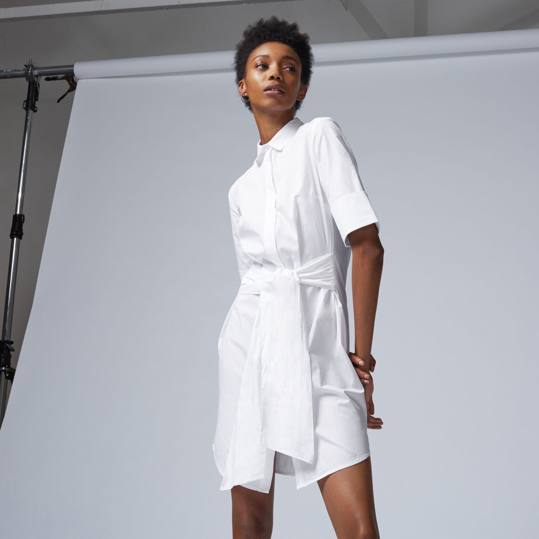 Warehouse, BELTED COTTON SHIRT DRESS White 1