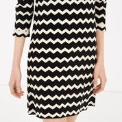 Warehouse, COMPACT CHEVRON DRESS Black Pattern 4