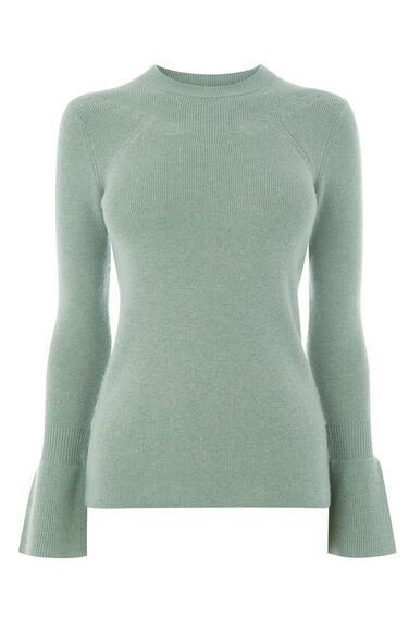 Warehouse, FLARE CUFF CREW JUMPER Mint 0