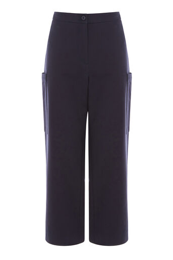 Warehouse, COMPACT COTTON CULOTTES Navy 0
