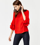 Warehouse, TIERED SLEEVE TOP Bright Red 1