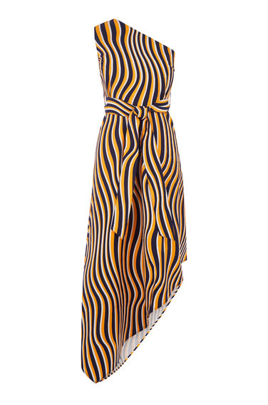 Warehouse, WARP PRINT ONE SHOULDER DRESS Orange 0