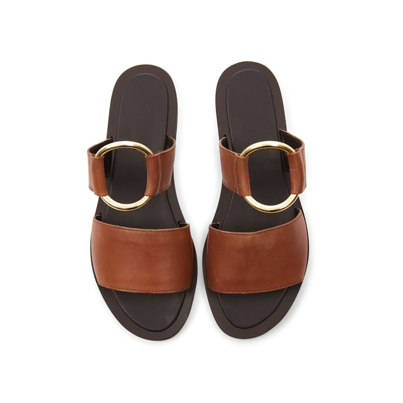 Warehouse, RING DETAIL LEATHER SANDALS Tan 1
